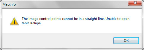 Error warning : the image control points cannot be in a straight line