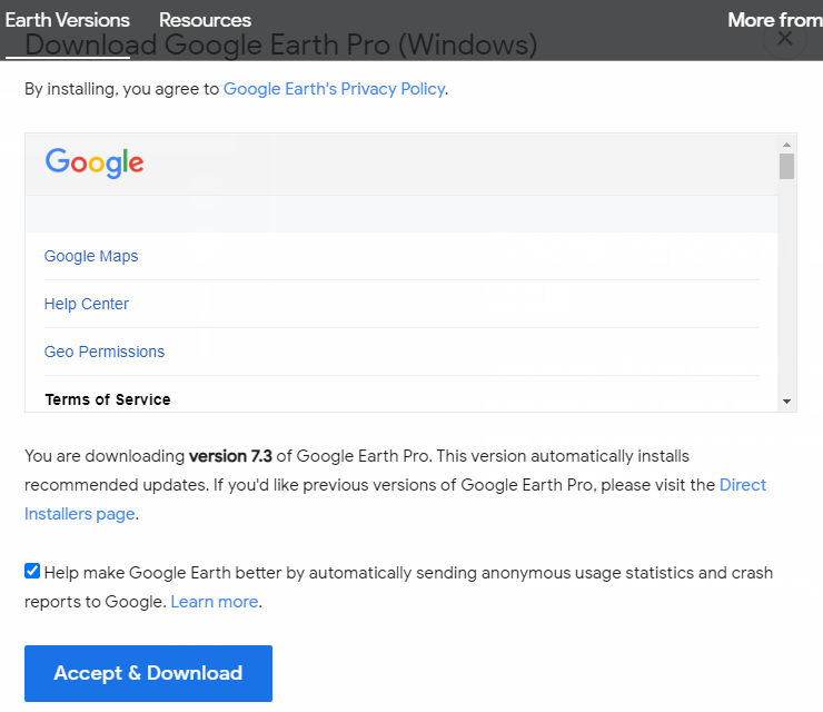 Accept & Download Google Earth